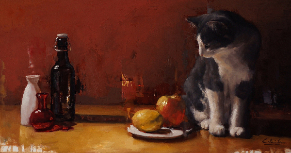 commission portrait artist, painting of a cat, calvin lai